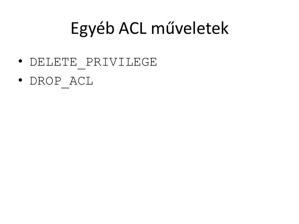 Egyéb ACL műveletek DELETE_PRIVILEGE DROP_ACL