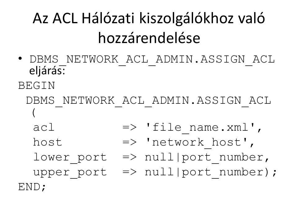 Az ACL Hálózati kiszolgálókhoz való hozzárendelése DBMS_NETWORK_ACL_ADMIN.ASSIGN_ACL eljárás: BEGIN DBMS_NETWORK_ACL_ADMIN.ASSIGN_ACL ( acl => 'file_n
