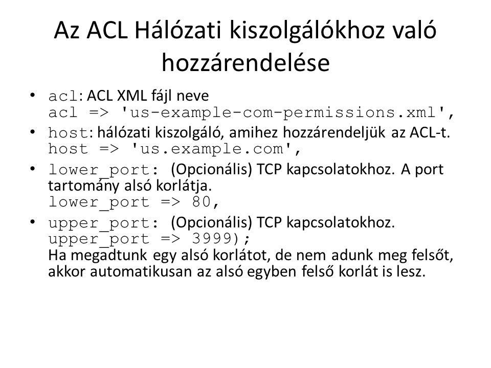 Az ACL Hálózati kiszolgálókhoz való hozzárendelése acl : ACL XML fájl neve acl => 'us-example-com-permissions.xml', host : hálózati kiszolgáló, amihez