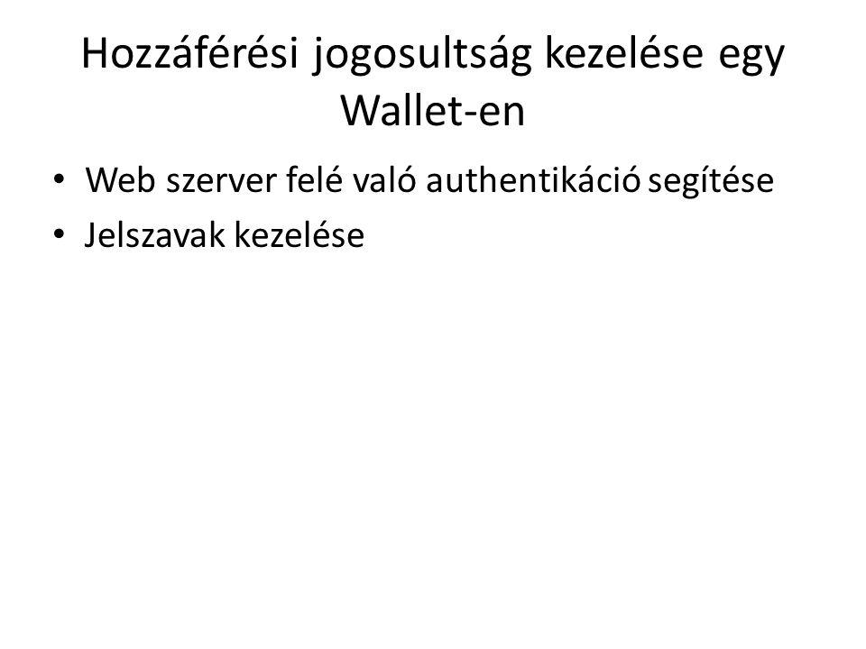Hozzáférési jogosultság kezelése egy Wallet-en Web szerver felé való authentikáció segítése Jelszavak kezelése