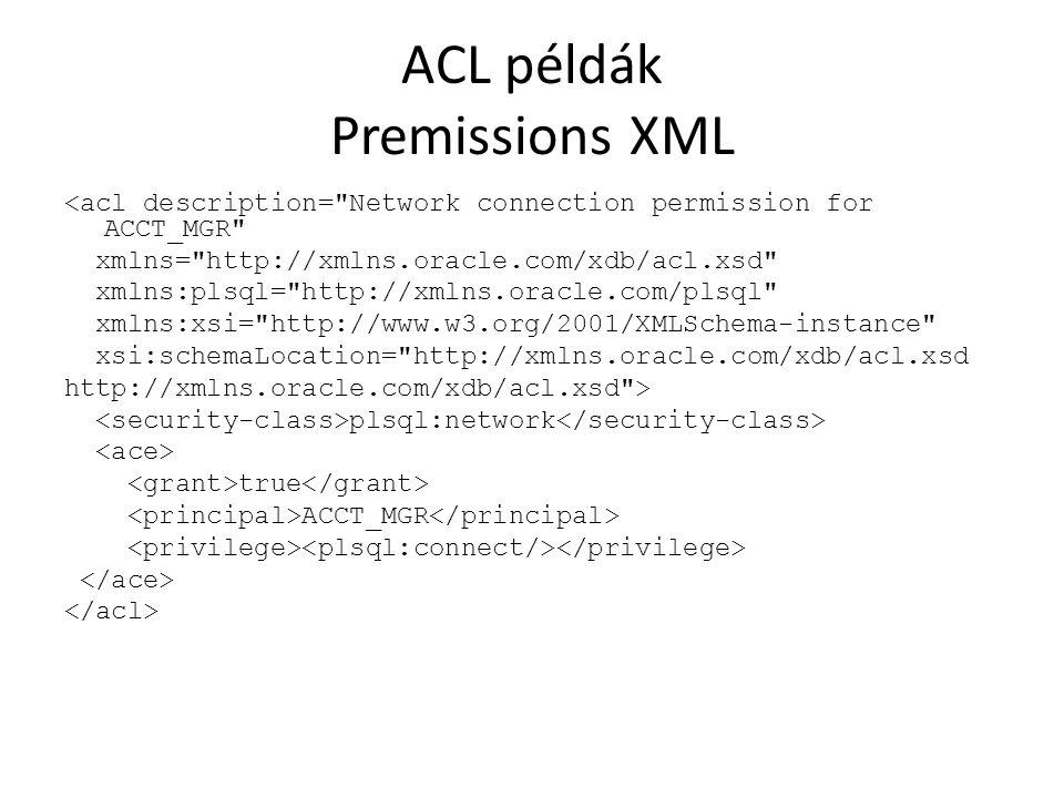 ACL példák Premissions XML <acl description=
