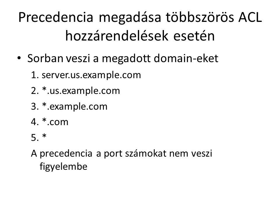 Precedencia megadása többszörös ACL hozzárendelések esetén Sorban veszi a megadott domain-eket 1. server.us.example.com 2. *.us.example.com 3. *.examp