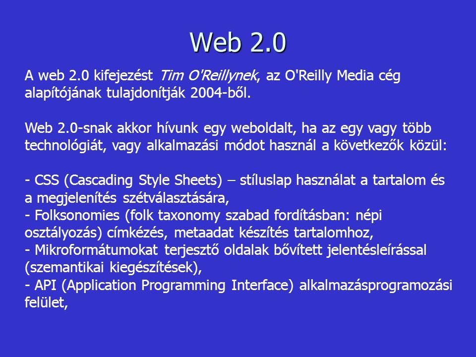 - Rich Internet Applications - látványos internetes alkalmazások pl.