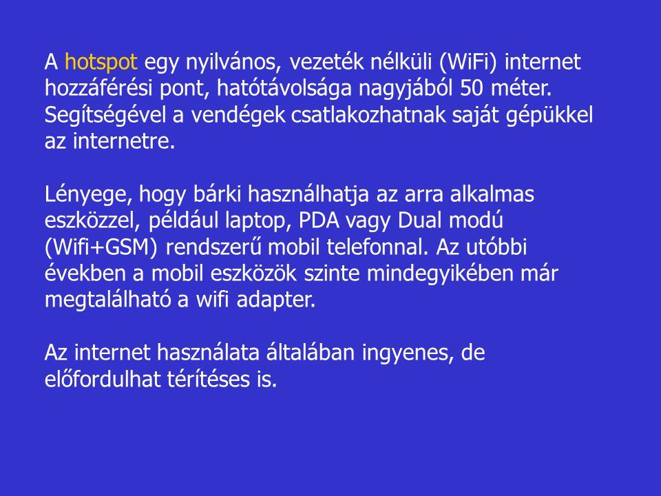 A hotspot egy nyilvános, vezeték nélküli (WiFi) internet hozzáférési pont, hatótávolsága nagyjából 50 méter.
