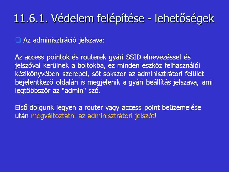  Az adminisztráció jelszava: Az access pointok és routerek gyári SSID elnevezéssel és jelszóval kerülnek a boltokba, ez minden eszköz felhasználói kézikönyvében szerepel, sőt sokszor az adminisztrátori felület bejelentkező oldalán is megjelenik a gyári beállítás jelszava, ami legtöbbször az admin szó.