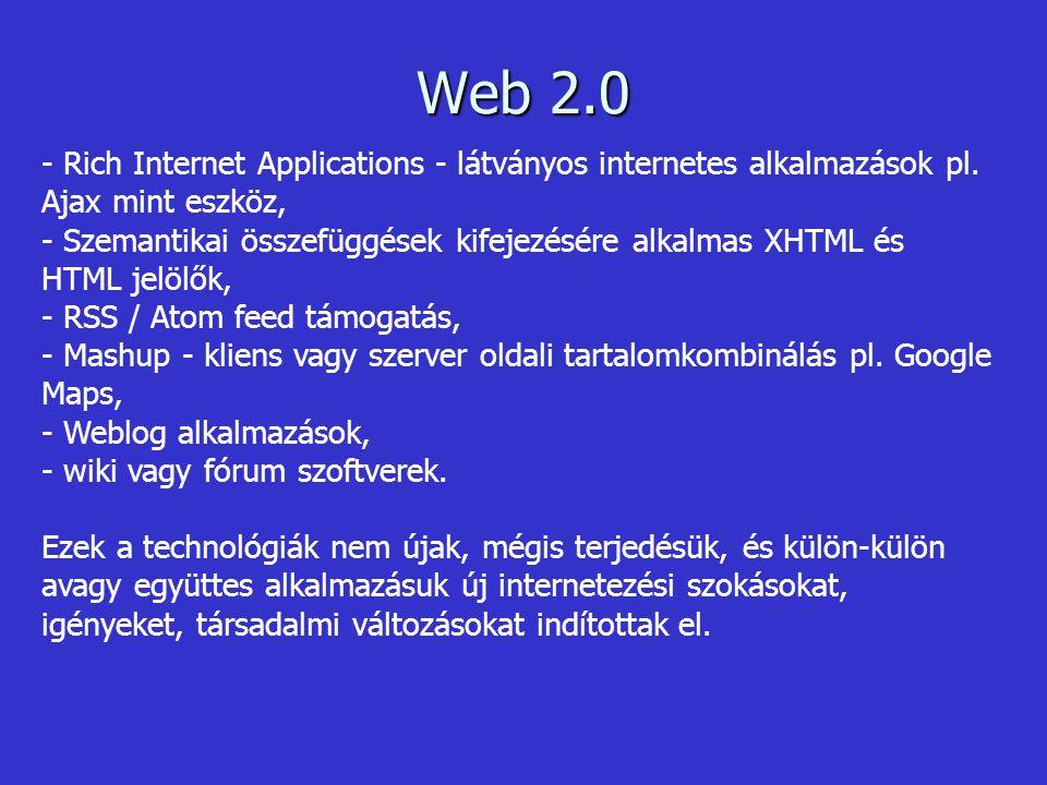 Ezekkel a lehetőségekkel élve a felhasználók már nem csak a weblapkészítők által feltett statikus tartalmat fogadhatták be, hanem lehetőségük nyílt saját oldalak létrehozására programozási ismeretek nélkül, valamint visszajelzések adására a megszerzett információkkal kapcsolatban.
