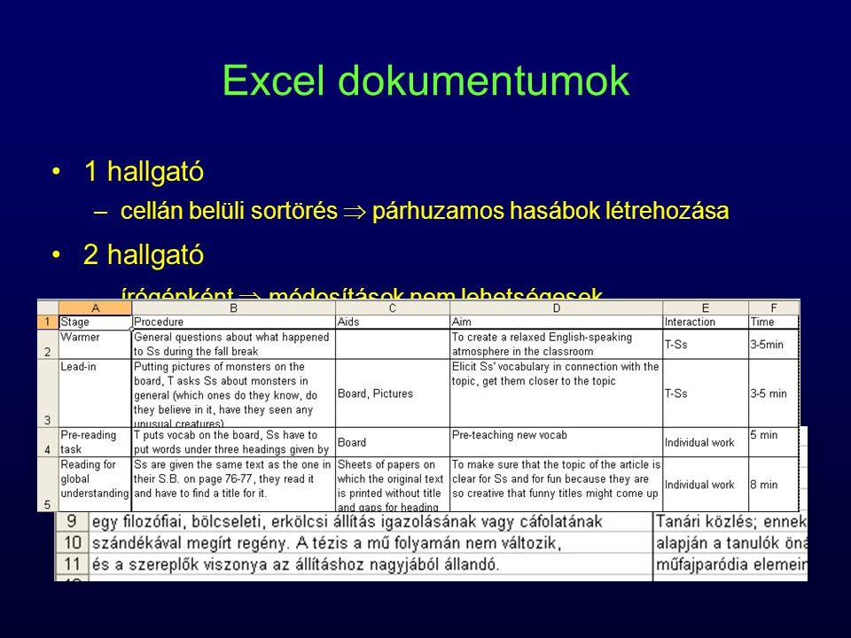Excel dokumentumok 1 hallgató –cellán belüli sortörés  párhuzamos hasábok létrehozása 2 hallgató –írógépként  módosítások nem lehetségesek fedőlap W