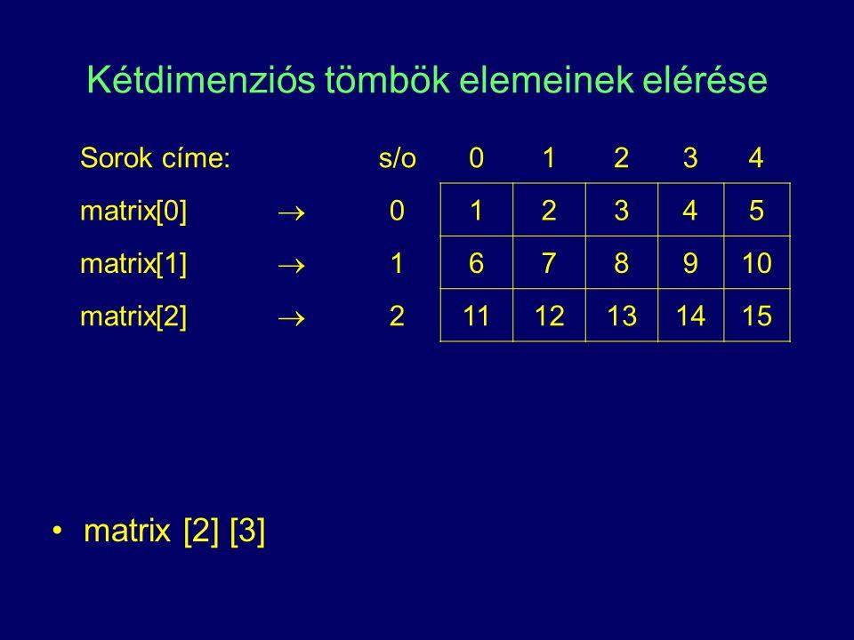 Kétdimenziós tömbök elemeinek elérése matrix [2] [3] Sorok címe:s/o01234 matrix[0]  012345 matrix[1]  1678910 matrix[2]  21112131415