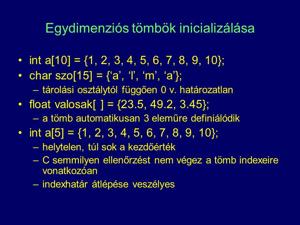 Tömbök és pointerek egy tömb neve nulladik elemének címe (pointer konstans, amely a tömb 0-dik elemére mutat) int a[5]; int *p; p = &a[0]; // a mutatót a tömb első elemére irányítjuk p = a; vagy int a[5], *p = a; a: a[0]a[1]a[2]a[3]a[4] p: p+1p+2p+3p+4