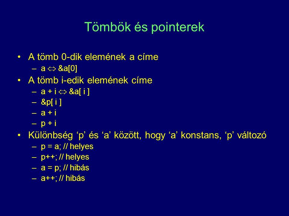 Tömbök és pointerek A tömb 0-dik elemének a címe –a  &a[0] A tömb i-edik elemének címe –a + i  &a[ i ] –&p[ i ] –a + i –p + i Különbség 'p' és 'a' k