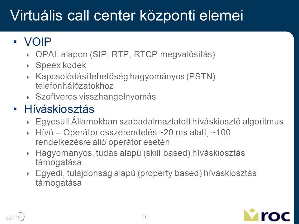 10 Virtuális call center központi elemei VOIP  OPAL alapon (SIP, RTP, RTCP megvalósítás)  Speex kodek  Kapcsolódási lehetőség hagyományos (PSTN) te