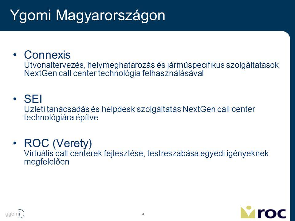4 Ygomi Magyarországon Connexis Útvonaltervezés, helymeghatározás és járműspecifikus szolgáltatások NextGen call center technológia felhasználásával S