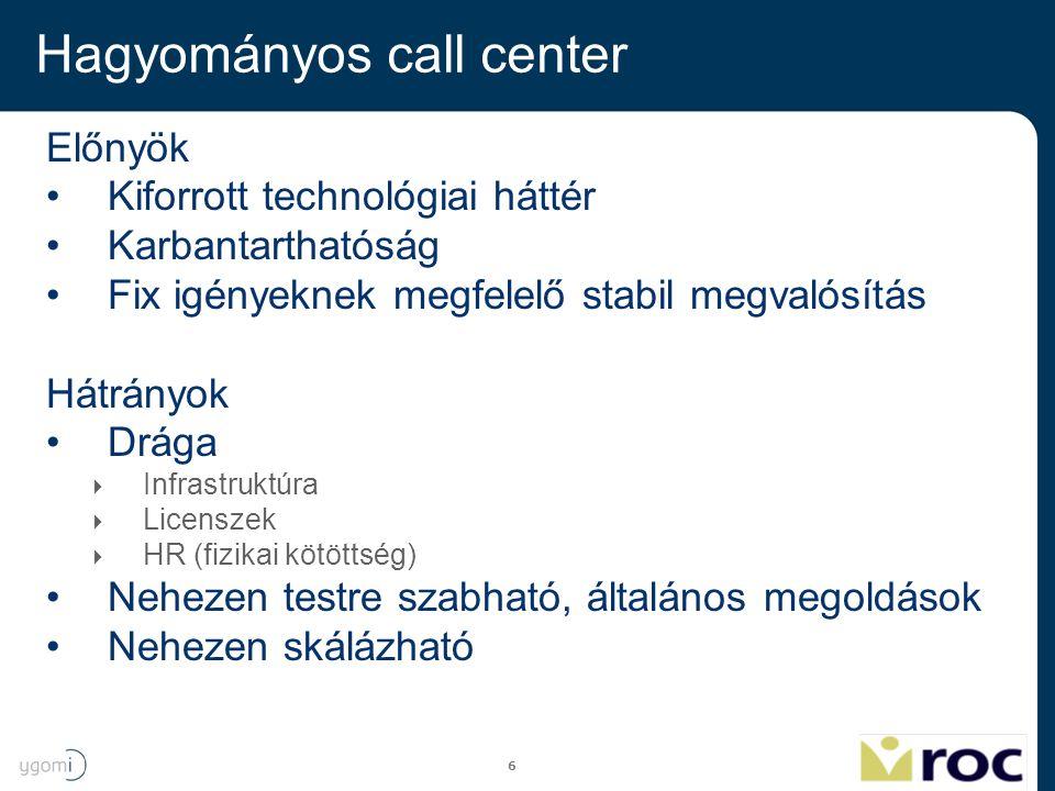 6 Hagyományos call center Előnyök Kiforrott technológiai háttér Karbantarthatóság Fix igényeknek megfelelő stabil megvalósítás Hátrányok Drága  Infra