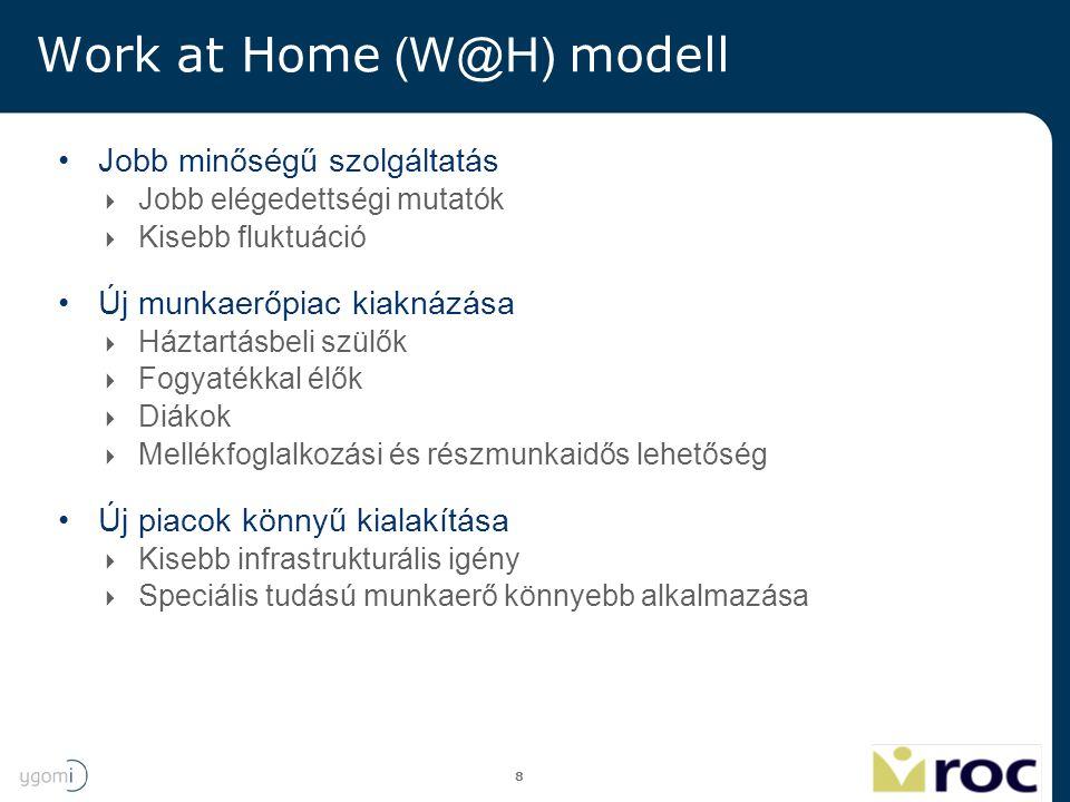 8 Work at Home (W@H) modell Jobb minőségű szolgáltatás  Jobb elégedettségi mutatók  Kisebb fluktuáció Új munkaerőpiac kiaknázása  Háztartásbeli szü
