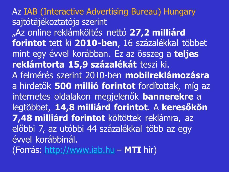 """Az IAB (Interactive Advertising Bureau) Hungary sajtótájékoztatója szerint """" Az online reklámköltés nettó 27,2 milliárd forintot tett ki 2010-ben, 16"""