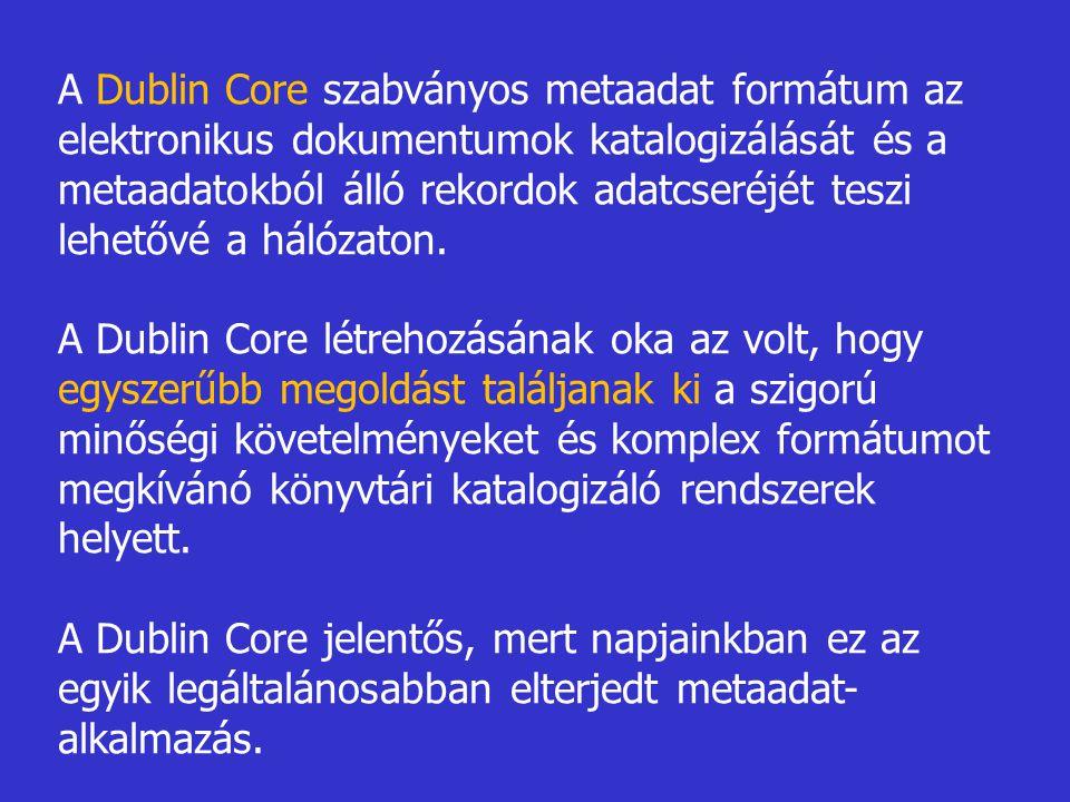 A Dublin Core szabványos metaadat formátum az elektronikus dokumentumok katalogizálását és a metaadatokból álló rekordok adatcseréjét teszi lehetővé a