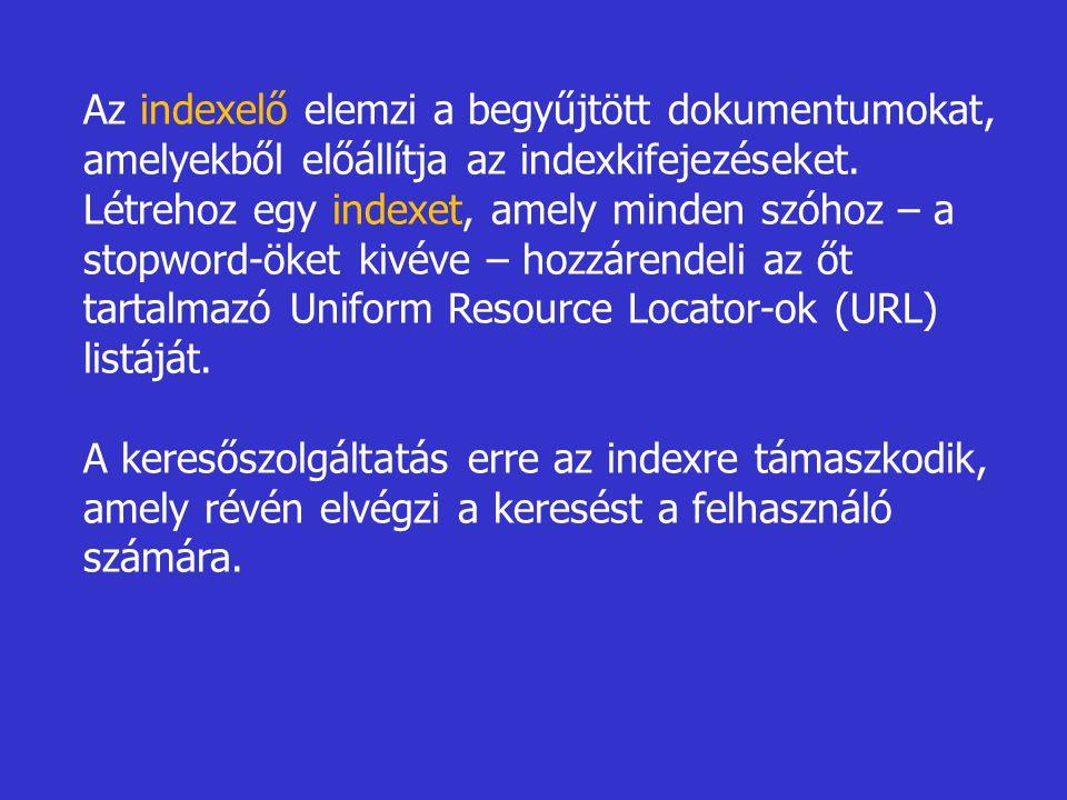 Az indexelő elemzi a begyűjtött dokumentumokat, amelyekből előállítja az indexkifejezéseket. Létrehoz egy indexet, amely minden szóhoz – a stopword-ök