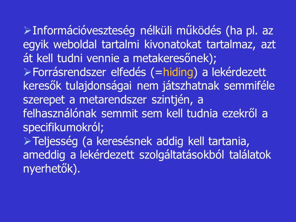  Információveszteség nélküli működés (ha pl. az egyik weboldal tartalmi kivonatokat tartalmaz, azt át kell tudni vennie a metakeresőnek);  Forrásren