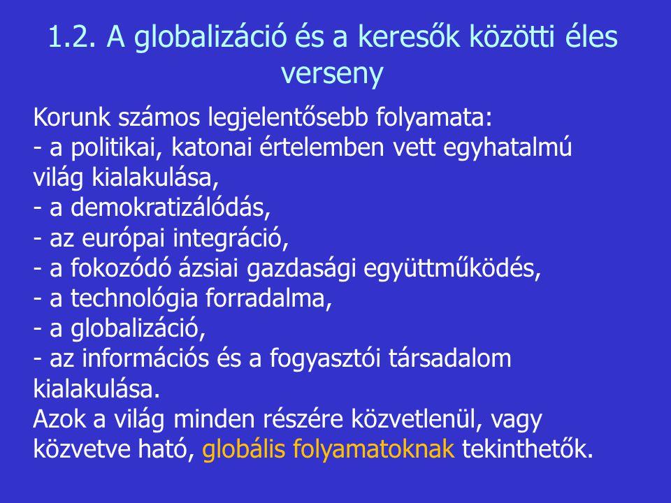 Korunk számos legjelentősebb folyamata: - a politikai, katonai értelemben vett egyhatalmú világ kialakulása, - a demokratizálódás, - az európai integr