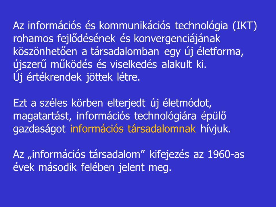Az információs és kommunikációs technológia (IKT) rohamos fejlődésének és konvergenciájának köszönhetően a társadalomban egy új életforma, újszerű műk