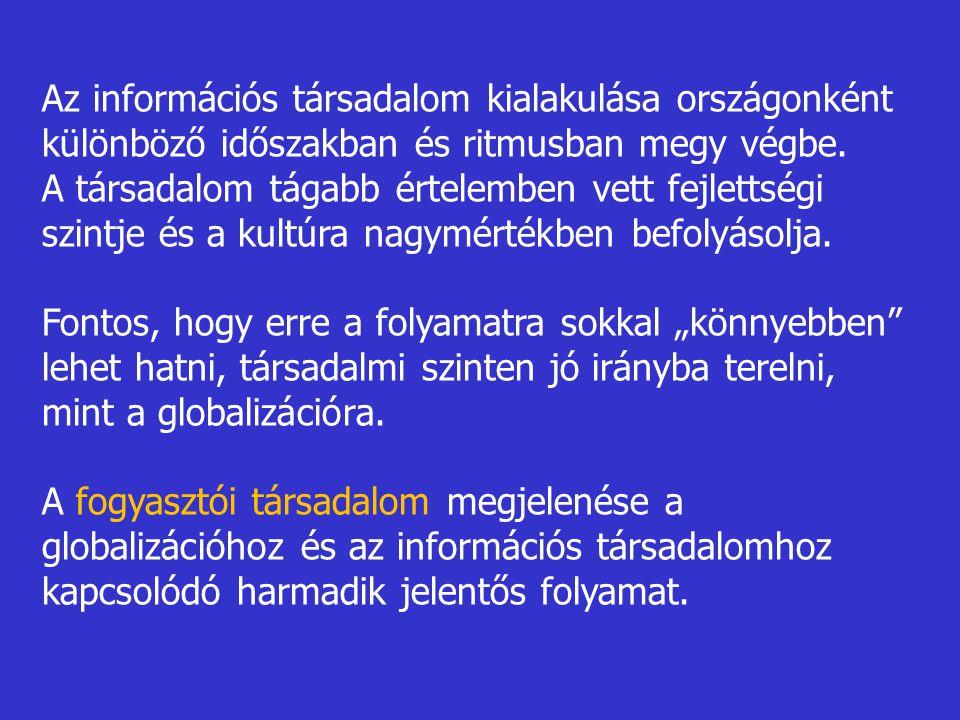 Az információs társadalom kialakulása országonként különböző időszakban és ritmusban megy végbe. A társadalom tágabb értelemben vett fejlettségi szint