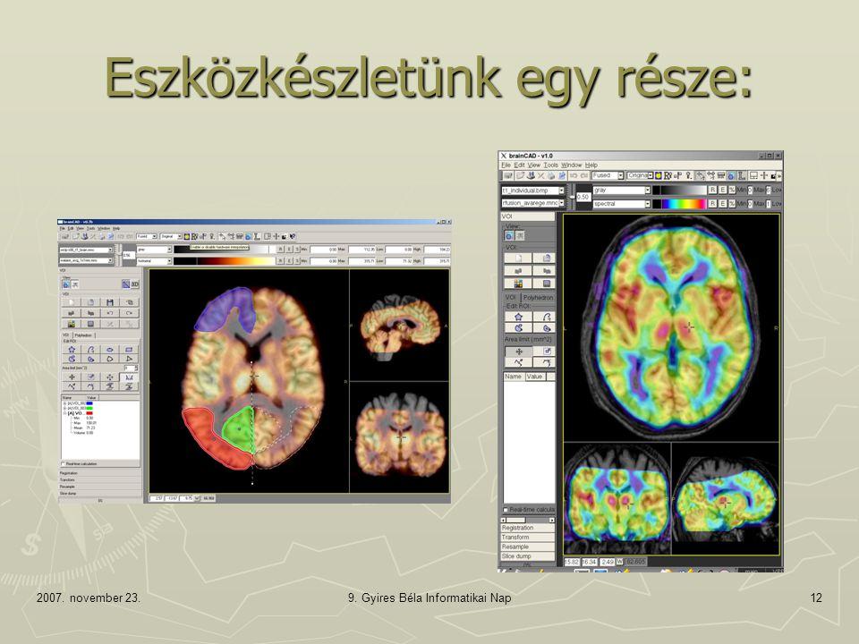 2007. november 23.9. Gyires Béla Informatikai Nap12 Eszközkészletünk egy része: