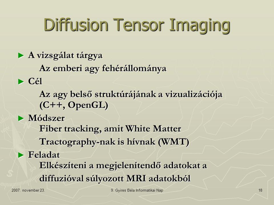 2007. november 23.9. Gyires Béla Informatikai Nap18 Diffusion Tensor Imaging ► A vizsgálat tárgya Az emberi agy fehérállománya ► Cél Az agy belső stru