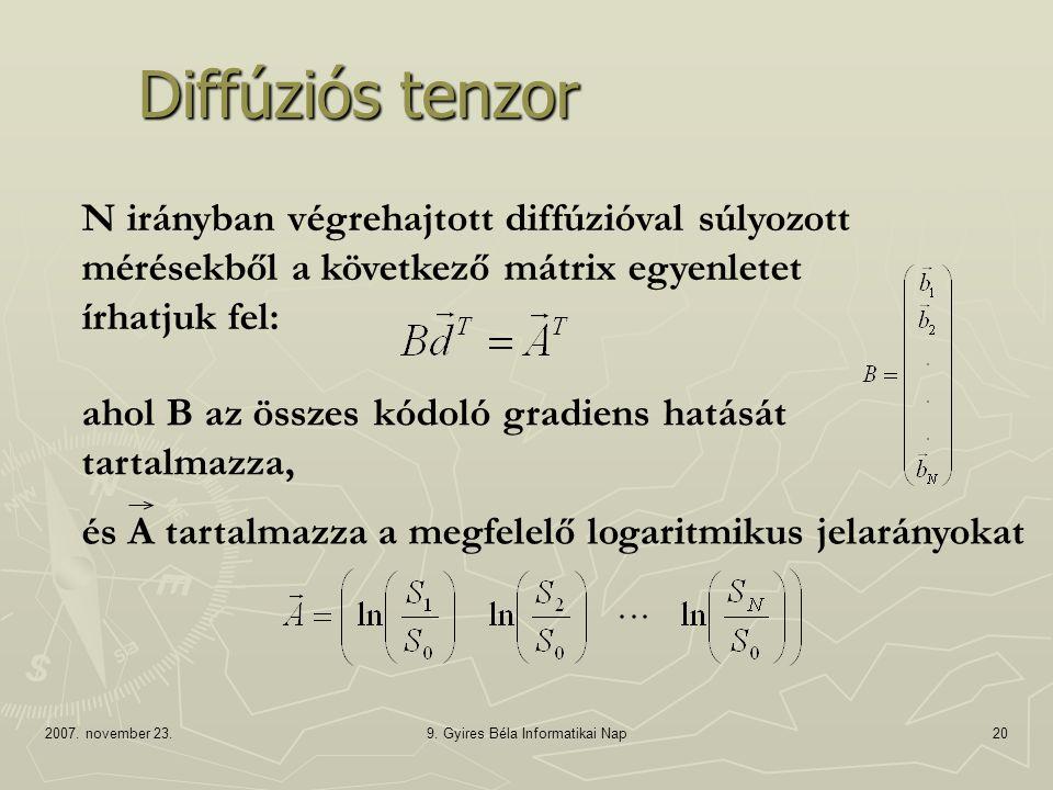 2007. november 23.9. Gyires Béla Informatikai Nap20 Diffúziós tenzor N irányban végrehajtott diffúzióval súlyozott mérésekből a következő mátrix egyen