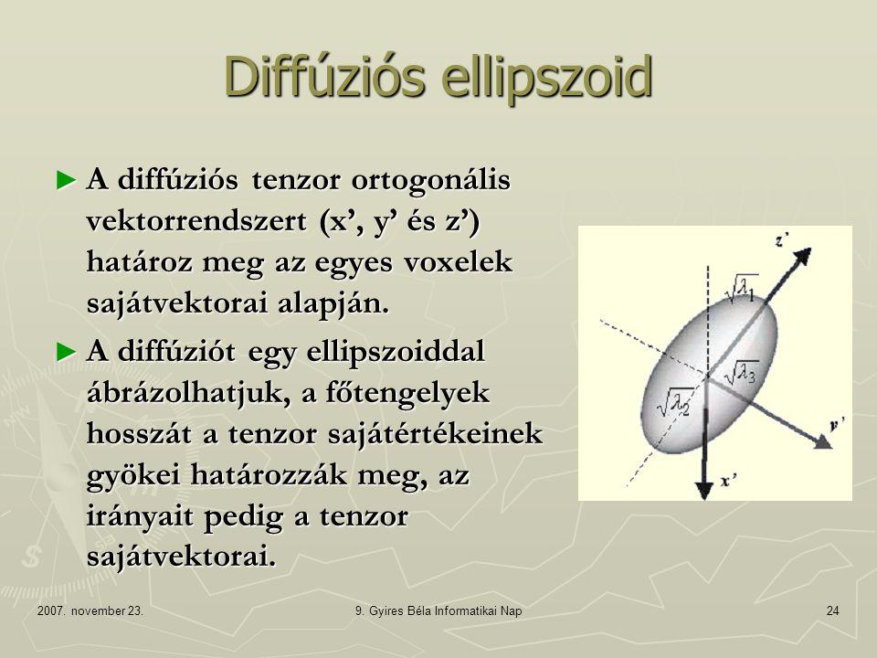 2007. november 23.9. Gyires Béla Informatikai Nap24 Diffúziós ellipszoid ► A diffúziós tenzor ortogonális vektorrendszert (x', y' és z') határoz meg a
