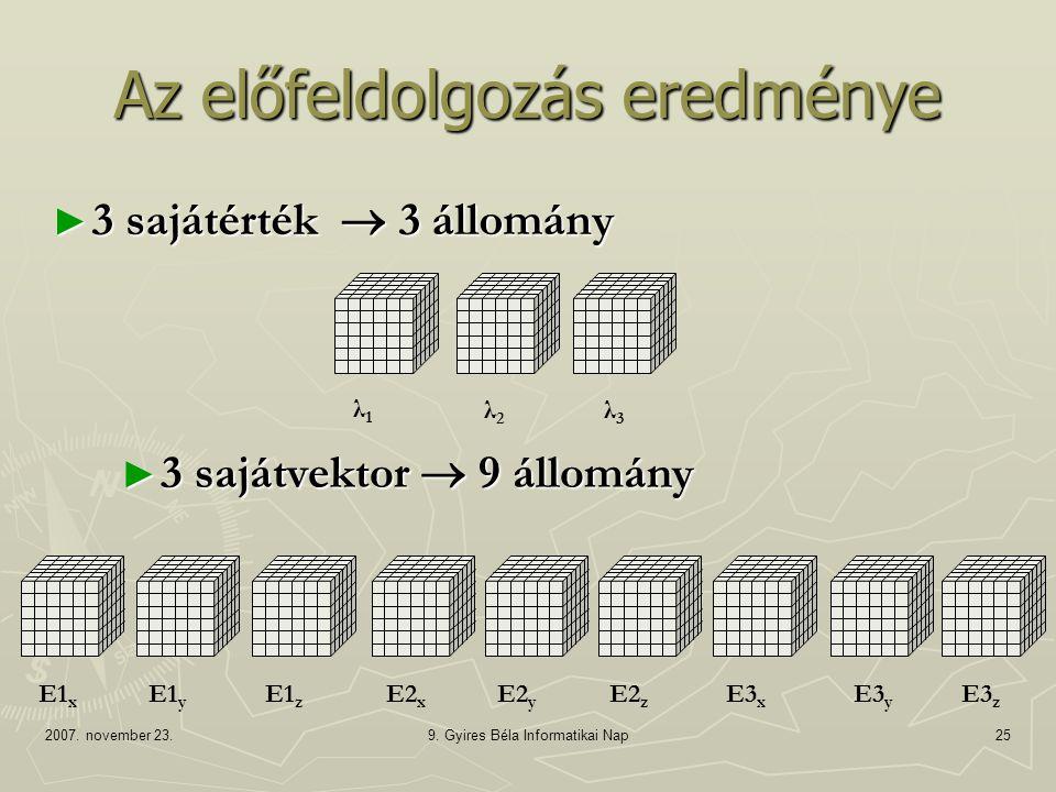 2007. november 23.9. Gyires Béla Informatikai Nap25 ► 3 sajátvektor  9 állomány Az előfeldolgozás eredménye λ1λ1 λ2λ2 λ3λ3 E1 x E1 y E1 z E2 x E3 y E
