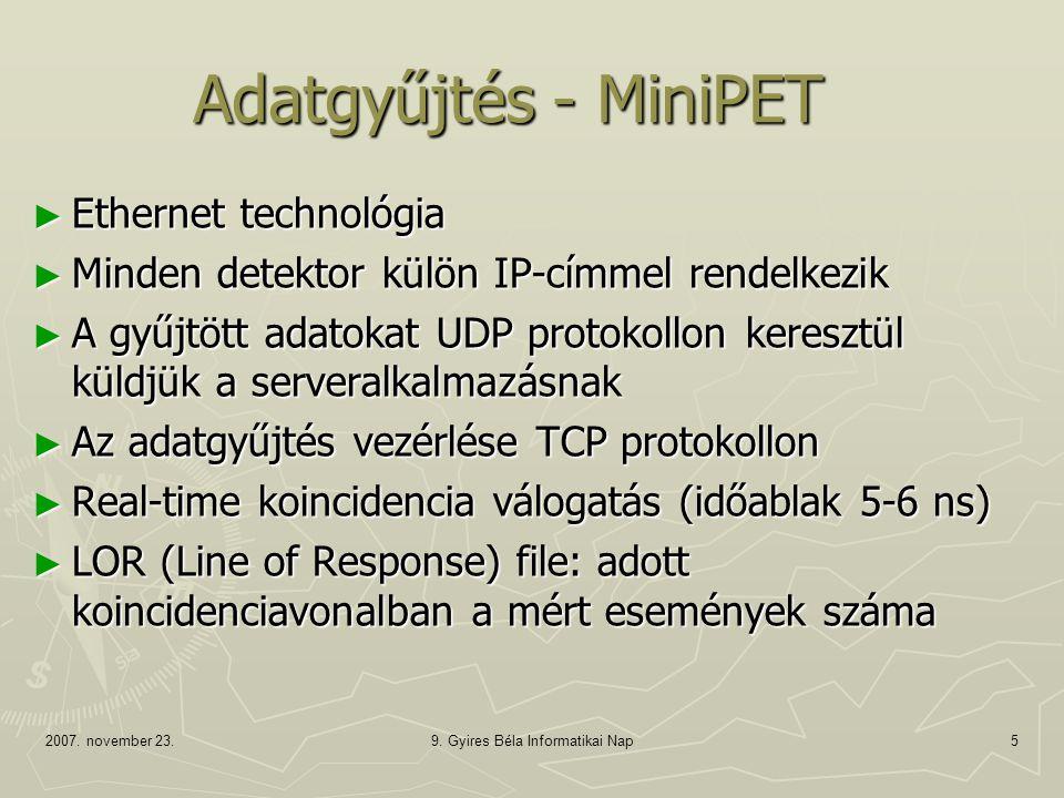 2007. november 23.9. Gyires Béla Informatikai Nap5 Adatgyűjtés - MiniPET ► Ethernet technológia ► Minden detektor külön IP-címmel rendelkezik ► A gyűj