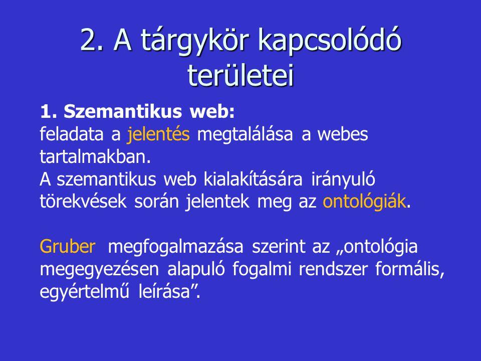 2. A tárgykör kapcsolódó területei 1.Szemantikus web: feladata a jelentés megtalálása a webes tartalmakban. A szemantikus web kialakítására irányuló t