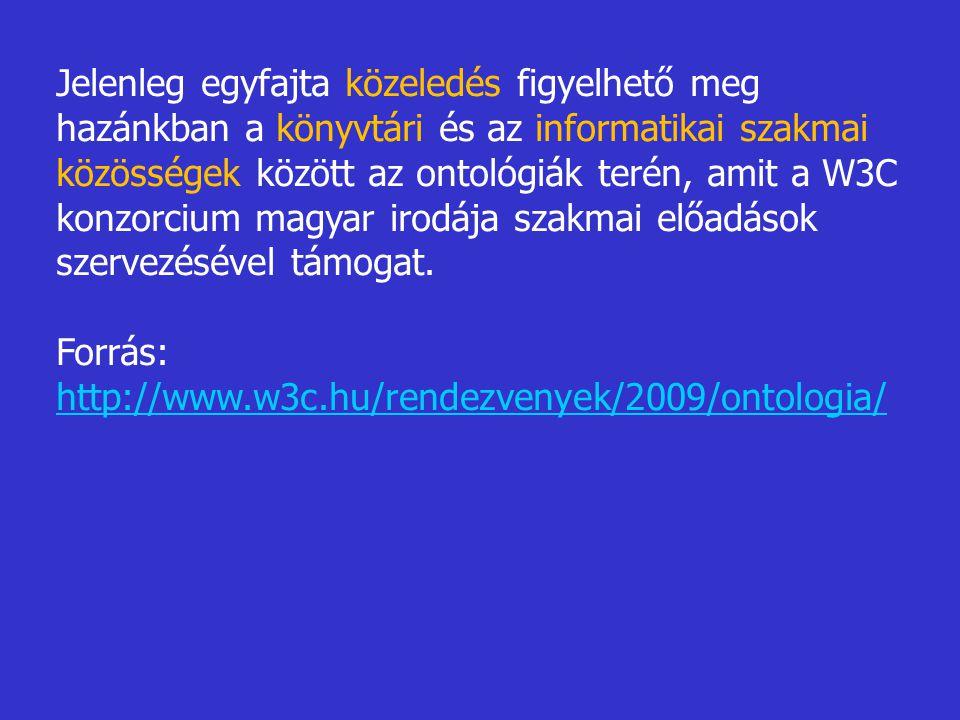 Jelenleg egyfajta közeledés figyelhető meg hazánkban a könyvtári és az informatikai szakmai közösségek között az ontológiák terén, amit a W3C konzorcium magyar irodája szakmai előadások szervezésével támogat.