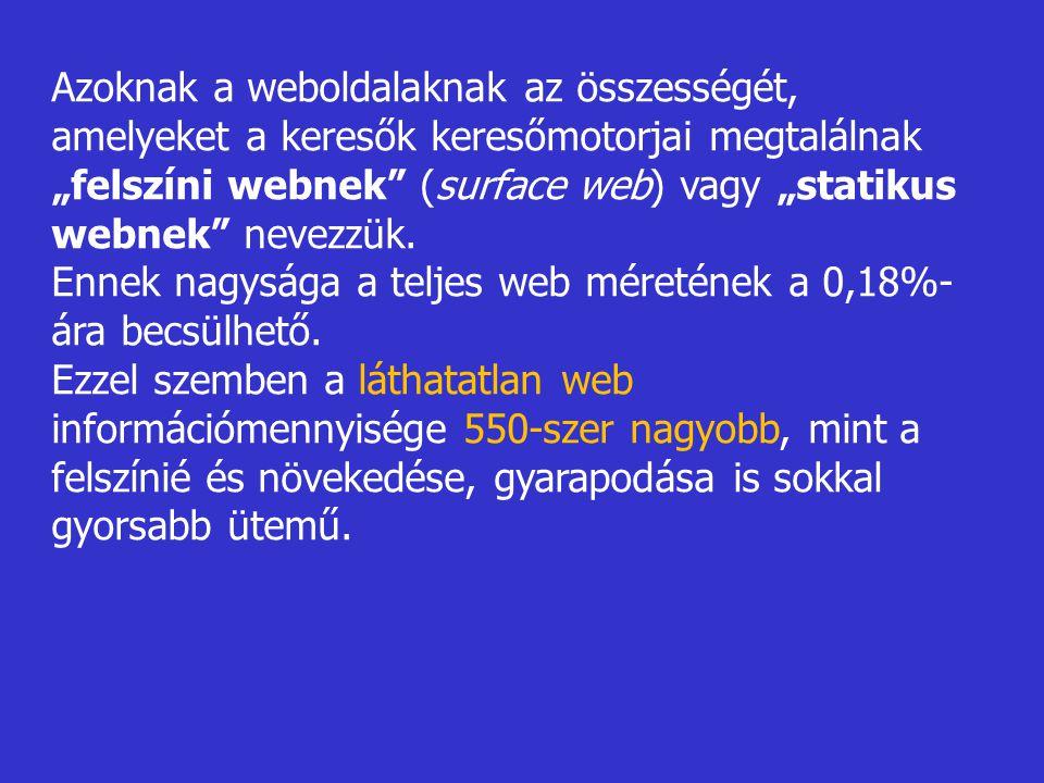 """Azoknak a weboldalaknak az összességét, amelyeket a keresők keresőmotorjai megtalálnak """"felszíni webnek (surface web) vagy """"statikus webnek nevezzük."""
