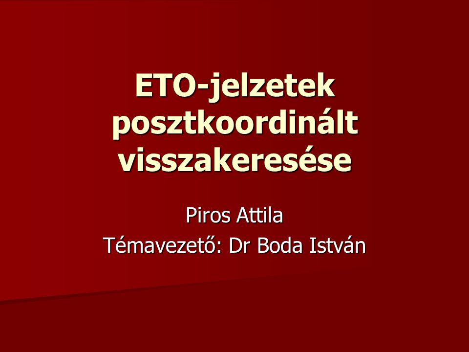 ETO-jelzetek posztkoordinált visszakeresése Piros Attila Témavezető: Dr Boda István