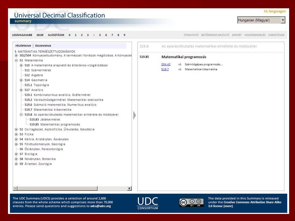 Miért az ETO? Online elérhető: Online elérhető: –egyelőre csak 2.600 osztály, 51 nyelven (magyarul is!) –UDC Summary (böngészhető) http://www.udcc.org
