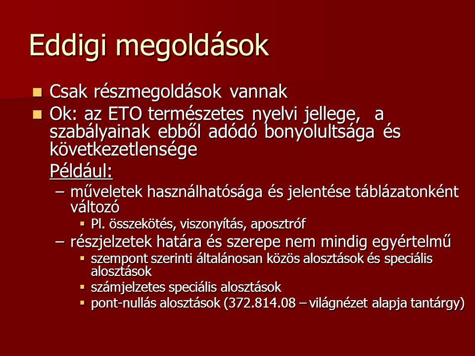 Eddigi megoldások Csak részmegoldások vannak Csak részmegoldások vannak Ok: az ETO természetes nyelvi jellege, a szabályainak ebből adódó bonyolultság