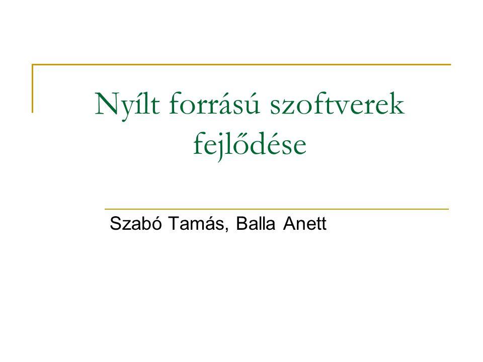 Nyílt forrású szoftverek fejlődése Szabó Tamás, Balla Anett
