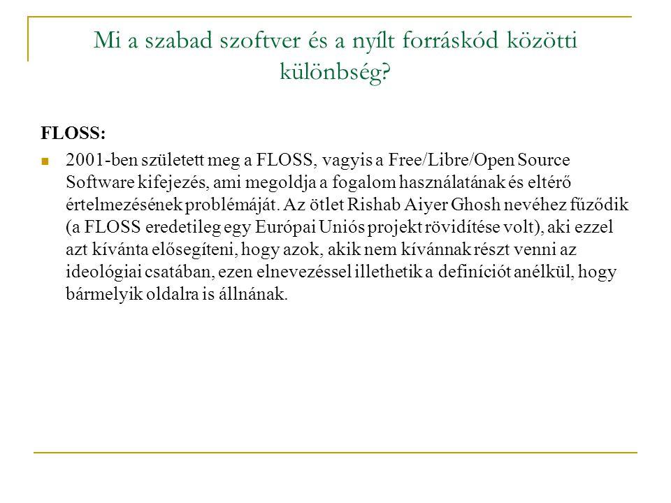 Mi a szabad szoftver és a nyílt forráskód közötti különbség.