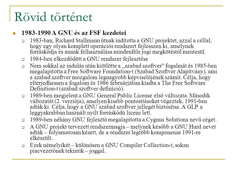 Rövid történet 1983-1990 A GNU és az FSF kezdetei  1983-ban, Richard Stallmann útnak indította a GNU projektet, azzal a céllal, hogy egy olyan komplett operációs rendszert fejlesszen ki, amelynek forráskódja és annak felhasználása mindenféle jogi megkötéstől mentesül.