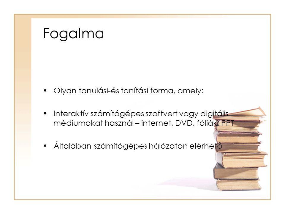 Fogalma Olyan tanulási-és tanítási forma, amely: Interaktív számítógépes szoftvert vagy digitális médiumokat használ – internet, DVD, fóliák, PPT Általában számítógépes hálózaton elérhető