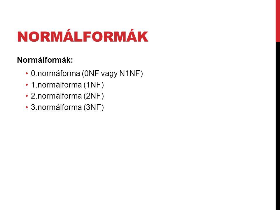 NORMÁLFORMÁK Normálformák: 0.normáforma (0NF vagy N1NF) 1.normálforma (1NF) 2.normálforma (2NF) 3.normálforma (3NF)