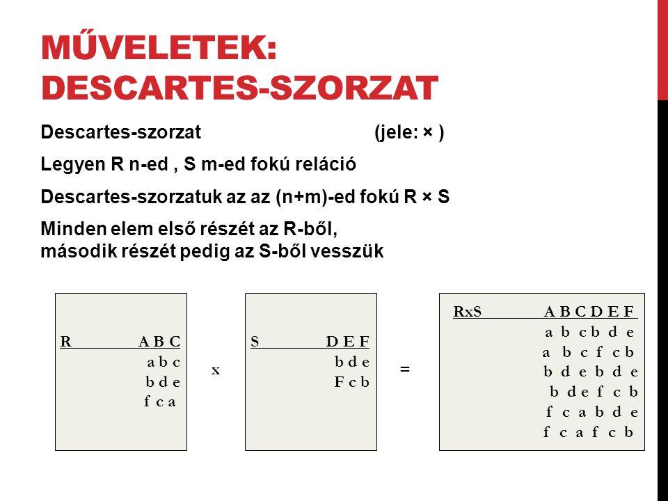 MŰVELETEK: DESCARTES-SZORZAT Descartes-szorzat (jele: × ) Legyen R n-ed, S m-ed fokú reláció Descartes-szorzatuk az az (n+m)-ed fokú R × S Minden elem