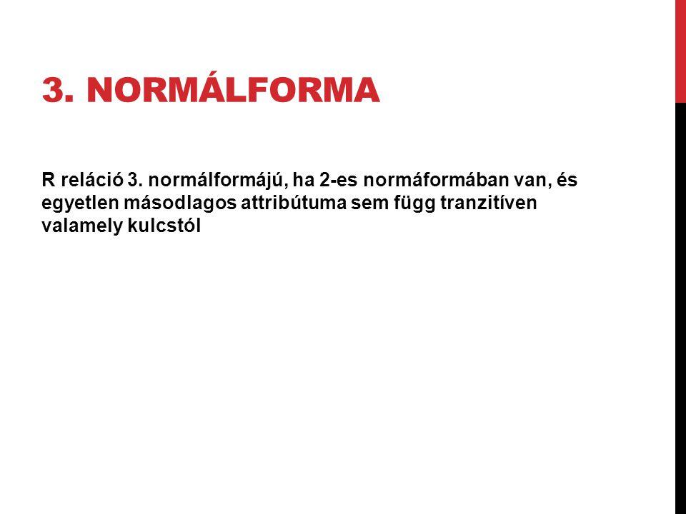 3. NORMÁLFORMA R reláció 3. normálformájú, ha 2-es normáformában van, és egyetlen másodlagos attribútuma sem függ tranzitíven valamely kulcstól