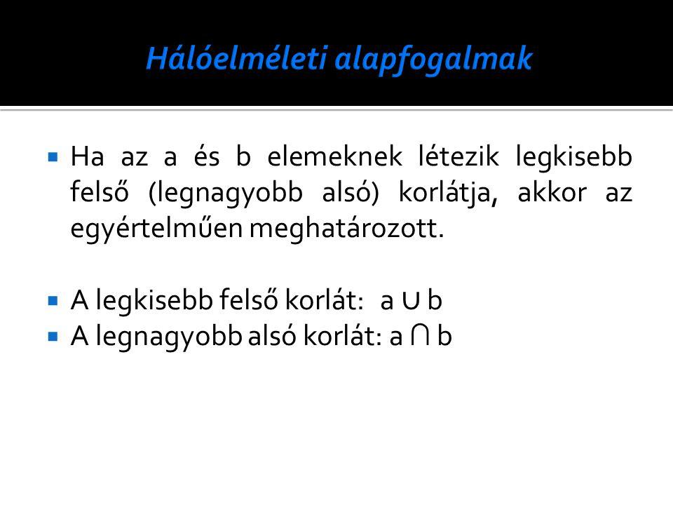  Ha az a és b elemeknek létezik legkisebb felső (legnagyobb alsó) korlátja, akkor az egyértelműen meghatározott.