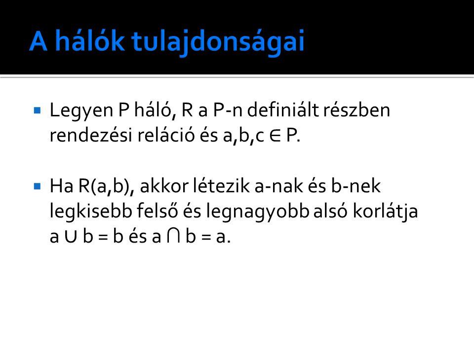  Legyen P háló, R a P-n definiált részben rendezési reláció és a,b,c ∈ P.