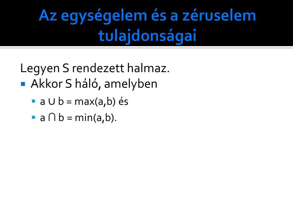 Legyen S rendezett halmaz.  Akkor S háló, amelyben  a ∪ b = max(a,b) és  a ∩ b = min(a,b).