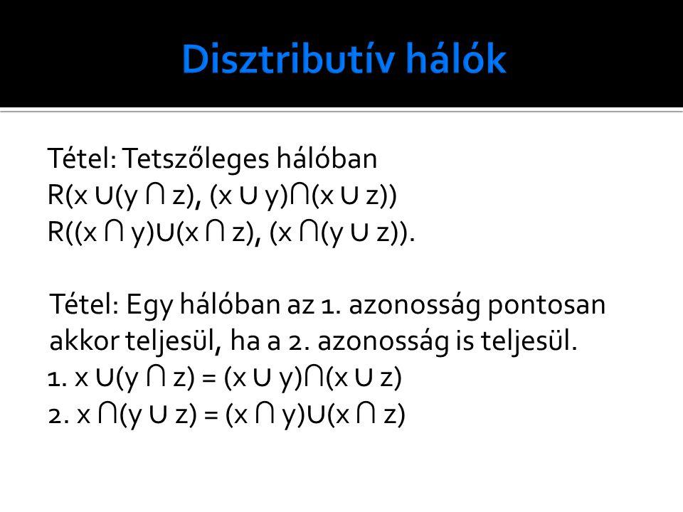 Tétel: Tetszőleges hálóban R(x ∪ (y ∩ z), (x ∪ y) ∩ (x ∪ z)) R((x ∩ y) ∪ (x ∩ z), (x ∩ (y ∪ z)).