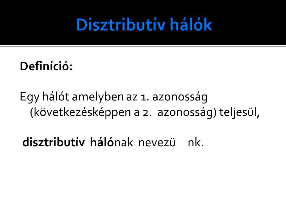 Definíció: Egy hálót amelyben az 1.azonosság (következésképpen a 2.