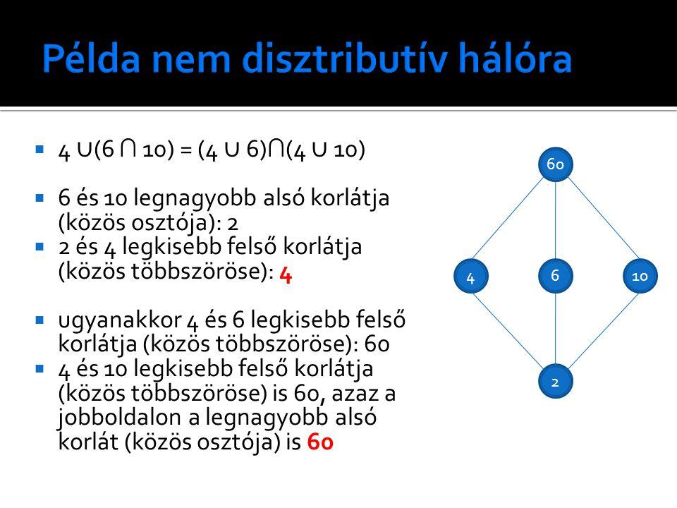  4 ∪ (6 ∩ 10) = (4 ∪ 6) ∩ (4 ∪ 10)  6 és 10 legnagyobb alsó korlátja (közös osztója): 2  2 és 4 legkisebb felső korlátja (közös többszöröse): 4  ugyanakkor 4 és 6 legkisebb felső korlátja (közös többszöröse): 60  4 és 10 legkisebb felső korlátja (közös többszöröse) is 60, azaz a jobboldalon a legnagyobb alsó korlát (közös osztója) is 60 60 6 2 410